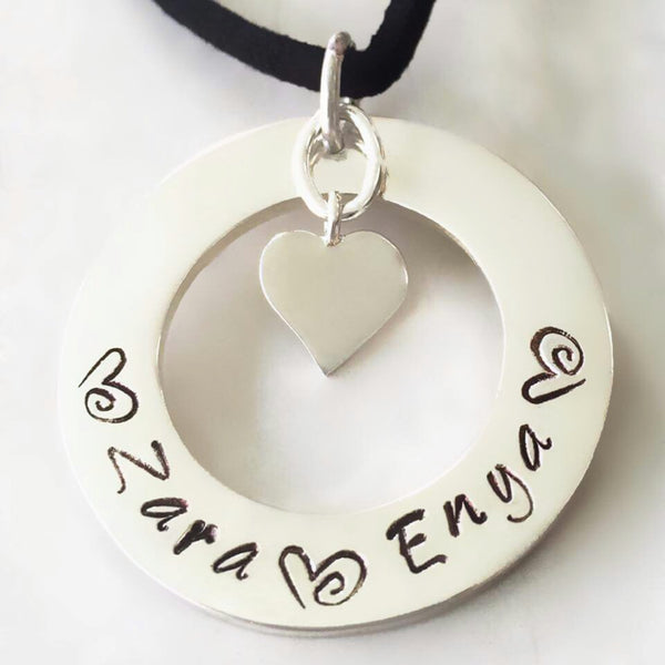 30 mm Personalised Hoop Necklace with Shiny Heart