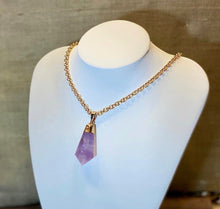 "Load image into Gallery viewer, ""Manifest"" - Purple Amethyst Crystal on a Gold Plated Chain - Yaya Accessories"