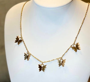 """Sky"" - Gold Plated butterflies on a Gold Plated chain - Yaya Accessories"