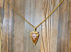 """Spear"" - Handcrafted gold plated Arrowhead on a Gold Plated Chain - Yaya Accessories"