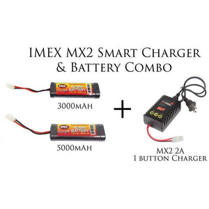 MX2 2A 1 Button Smart Charger & 3000/5000mAh Battery Combos