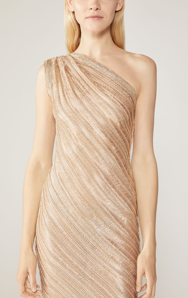 Metallic One-Shoulder Gown