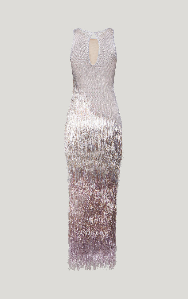 Metallic Fringe Gown