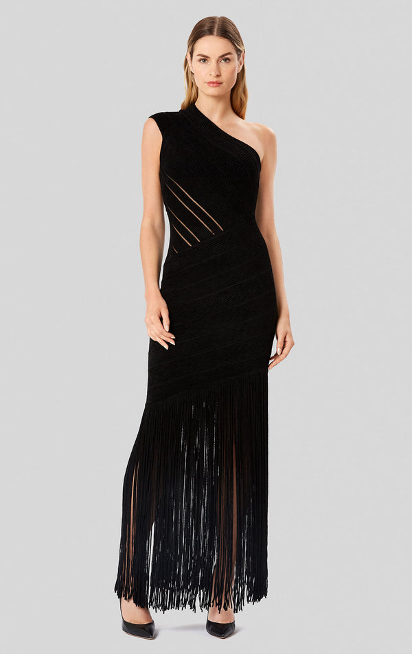 Velvet One-Shoulder Fringe Gown