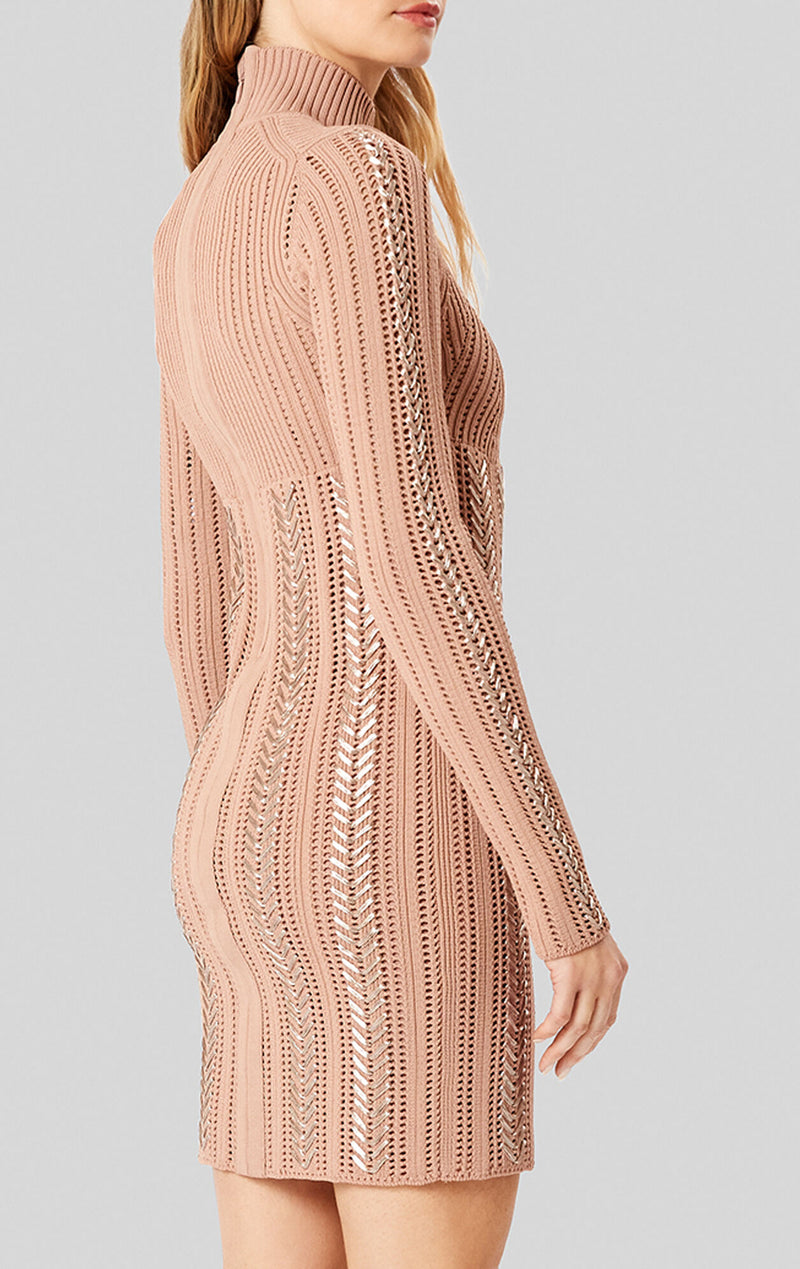 Braided Metallic Mini Dress