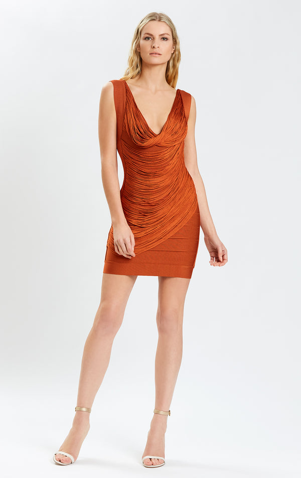 Draped Fringe V Neck Mini Dress