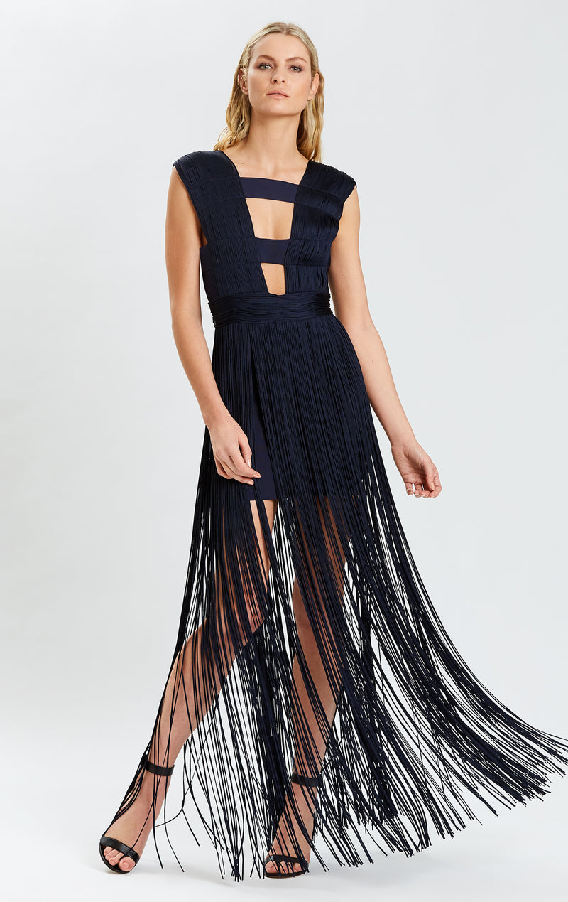 Draped Fringe Square Neck Gown