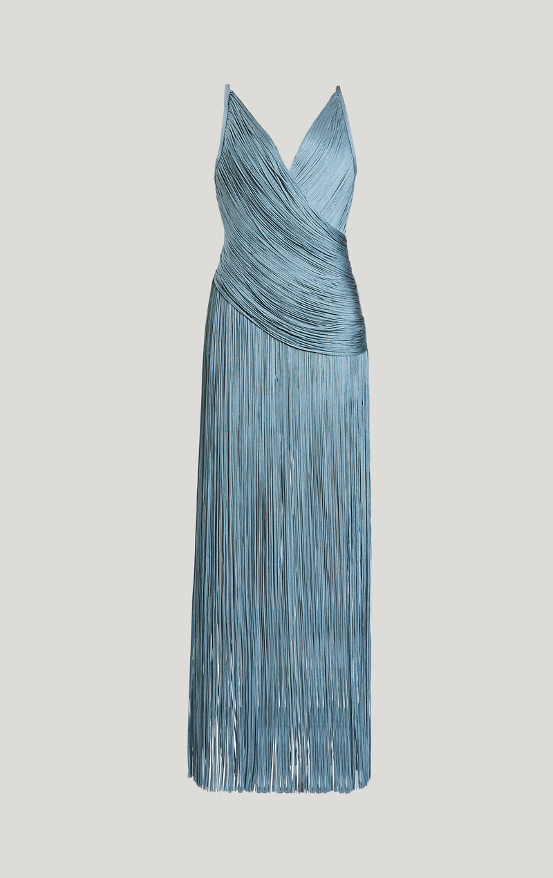Draped Fringe Deep V Neck Gown