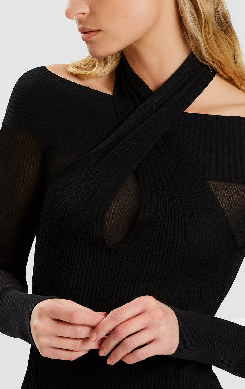 Draped Halter Neck Bodysuit