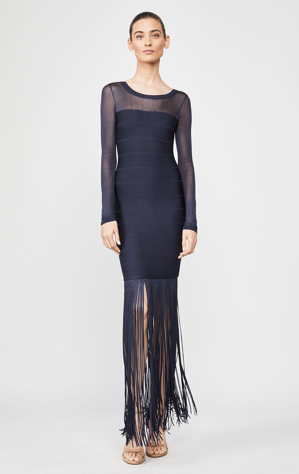 Illusion Fringe Gown
