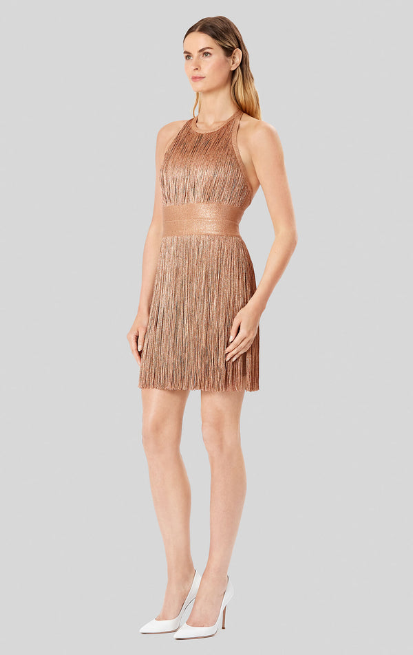 Metallic Fringe Halter Dress