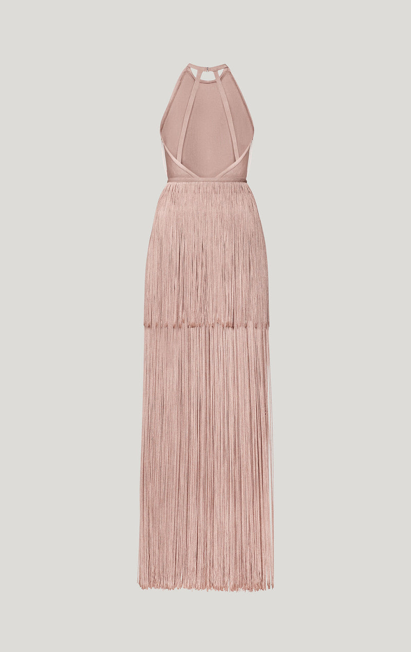 Sleeveless Tiered Fringe Gown
