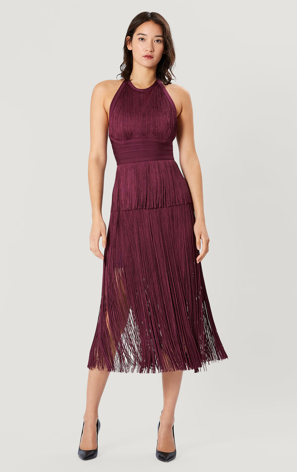 Strappy Halter Fringe Dress