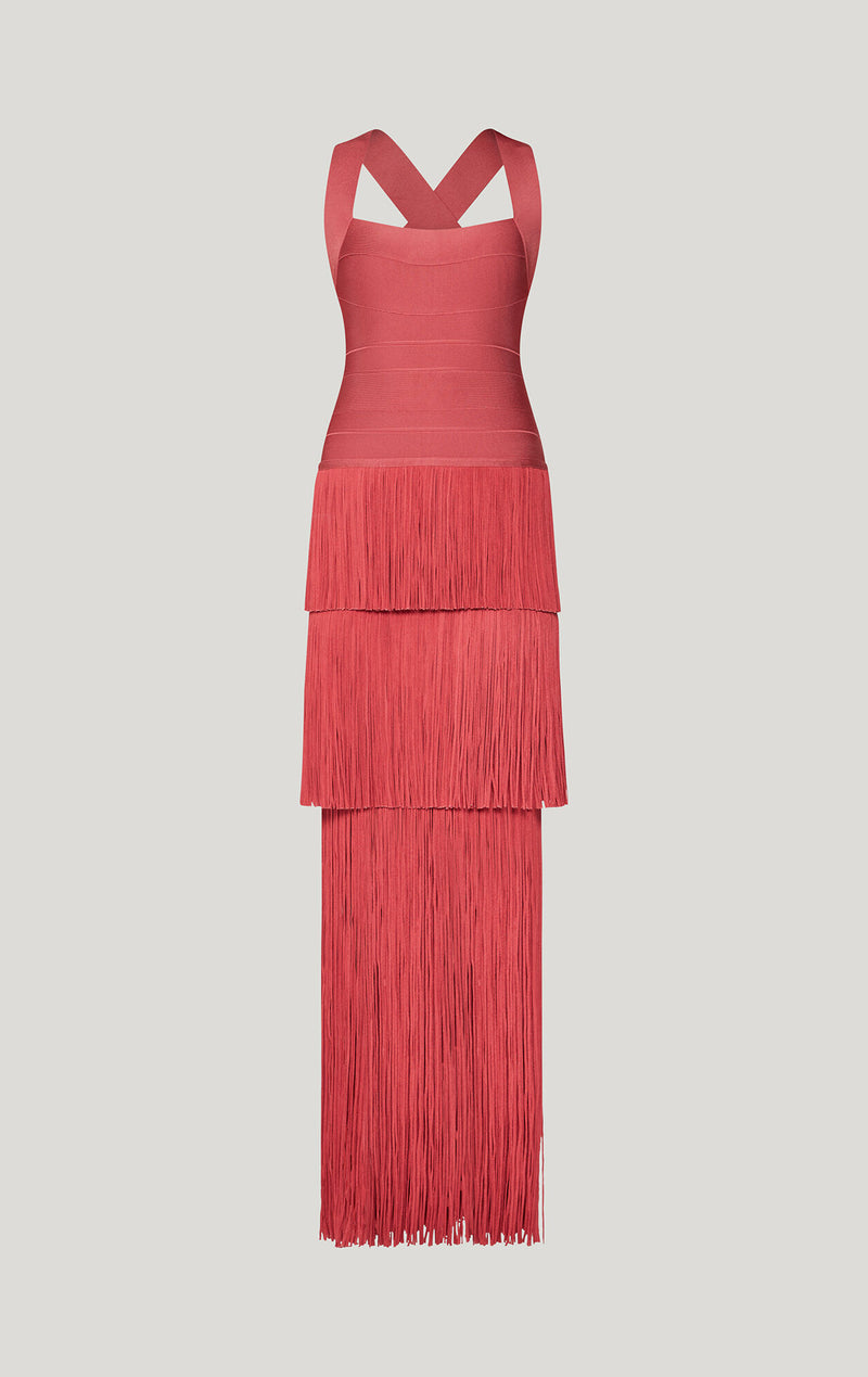 Tiered Fringe Gown