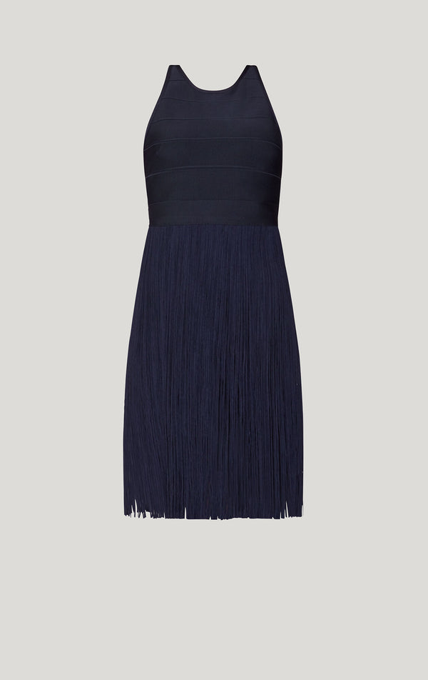 Strappy Fringe Cocktail Dress
