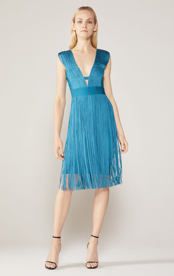 Deep V Fringe Cutout Dress