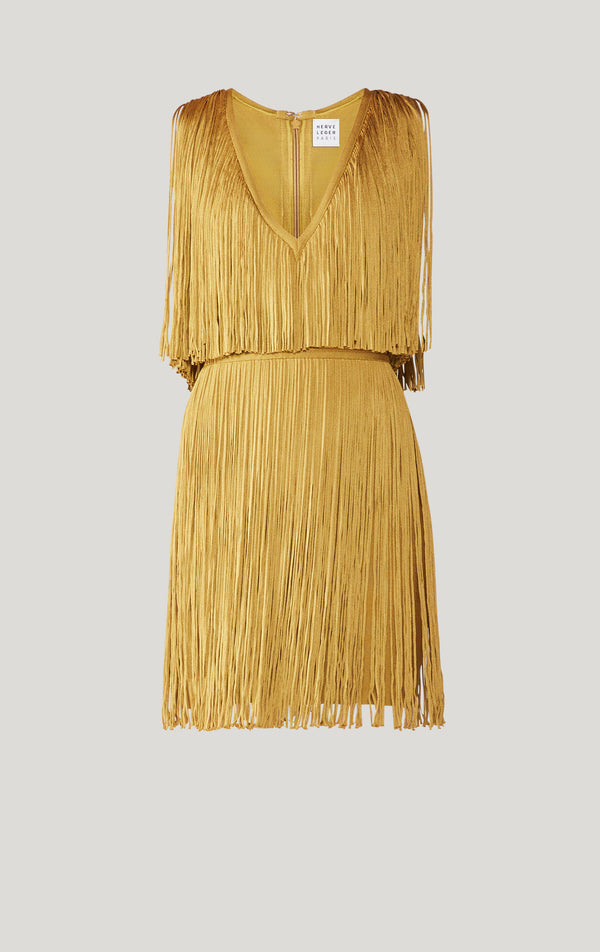 Deep V Fringe Dress