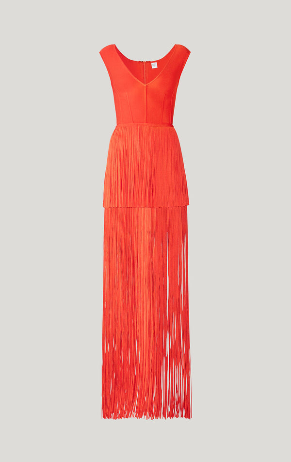 Tiered Fringe Cap Sleeve Gown