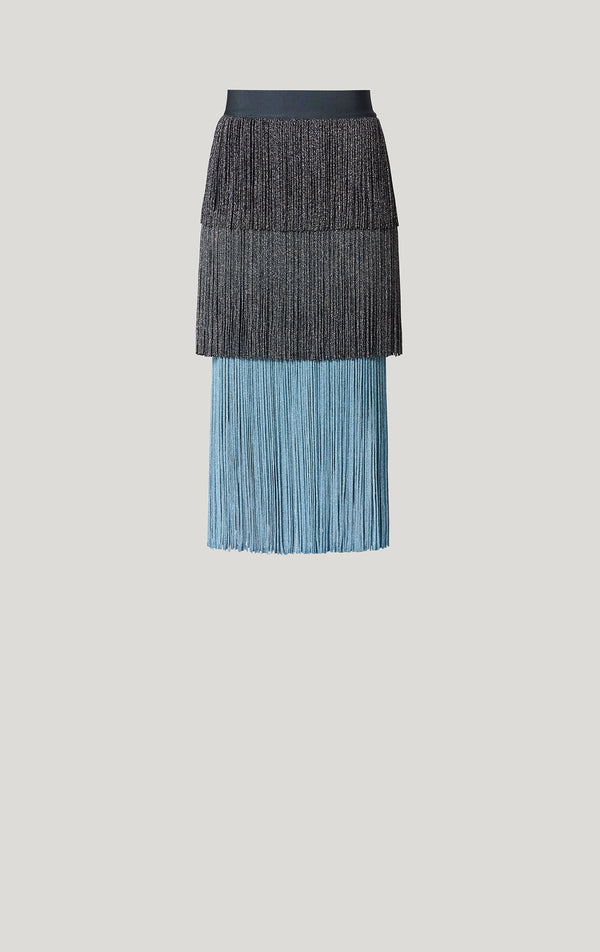 Tri-Color Fringe Skirt