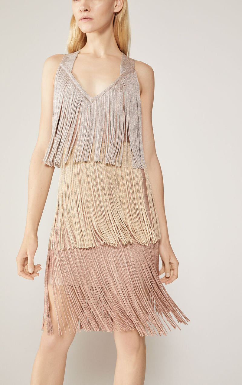 Cross-Back Tiered Fringe Dress