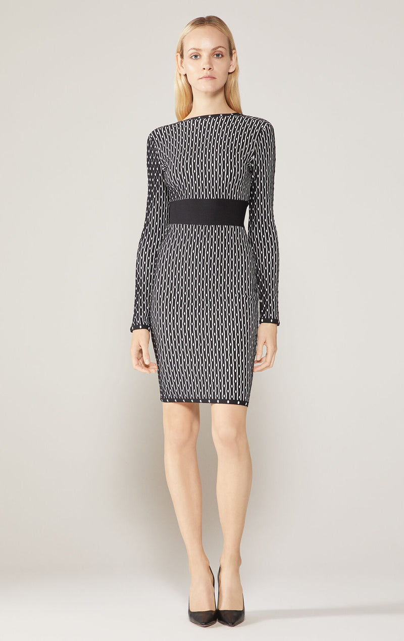 Jacquard Boat Neck Dress