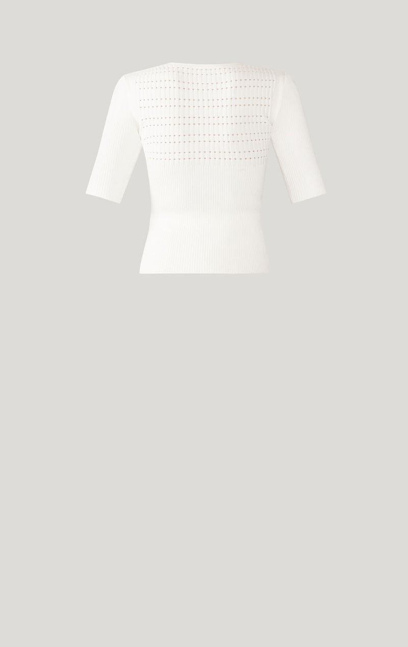 Rib Knit Pointelle Top