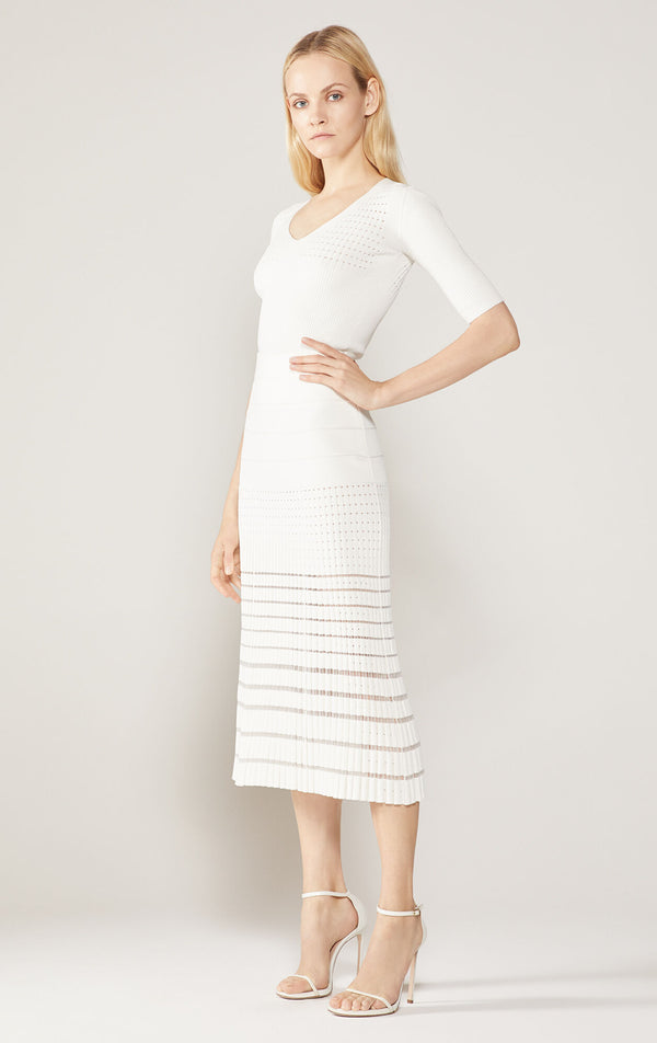 Rib Knit Pointelle Midi Skirt