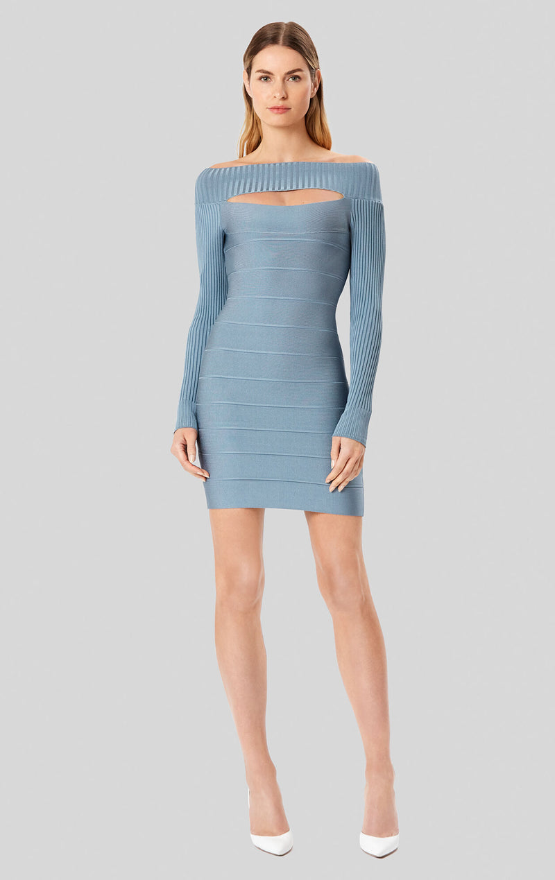 Bandage Boat Neck Dress