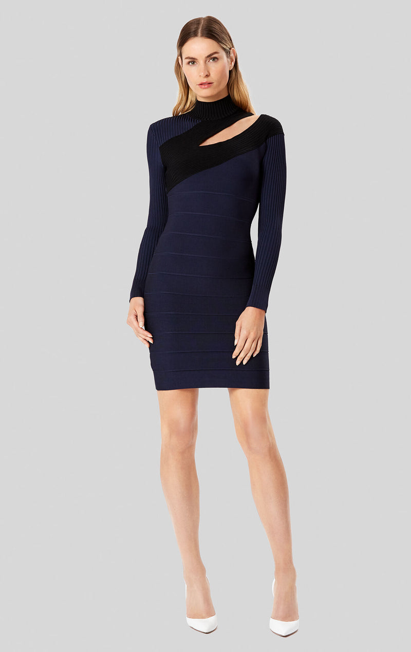 Bandage Mock Neck Dress