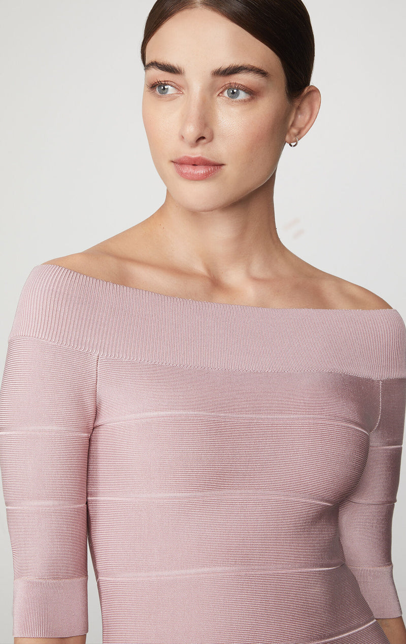 Icon Off The Shoulder Ribbed Dress