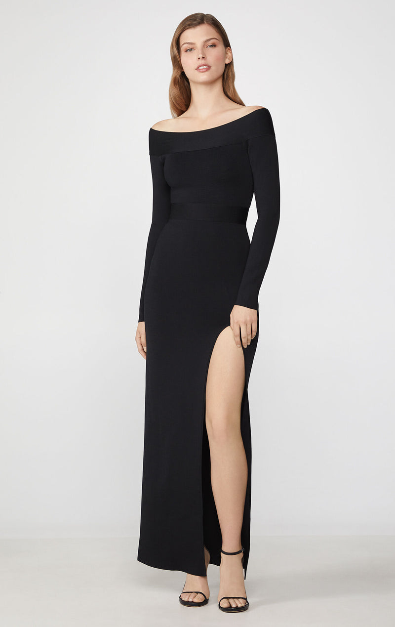 Off-the-Shoulder Long Sleeve Gown