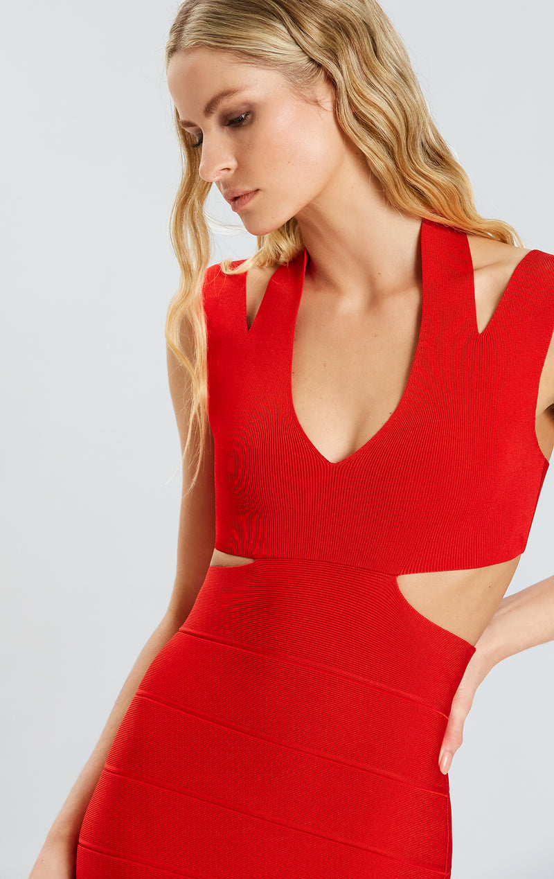 V Neck Cross Back Midi Dress