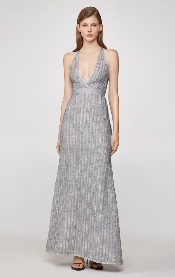 Metallic Eyelash Deep-V Gown