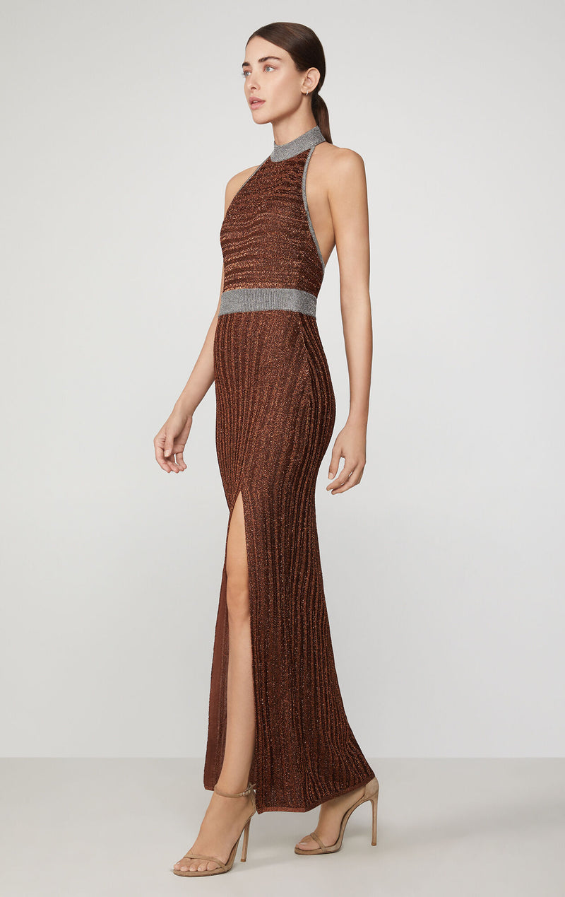 Metallic Eyelash Halter Gown