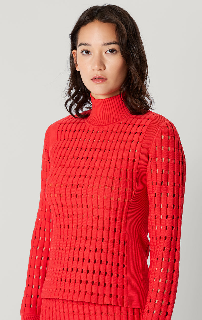 Geometric Pointelle Long Sleeve Top