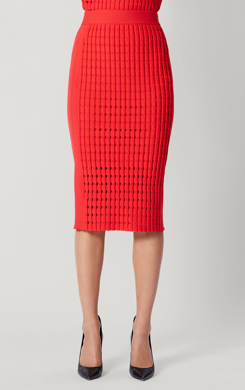 Geometric Pointelle Midi Skirt