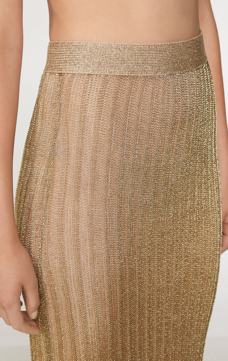 Metallic Rib Knit Midi Skirt