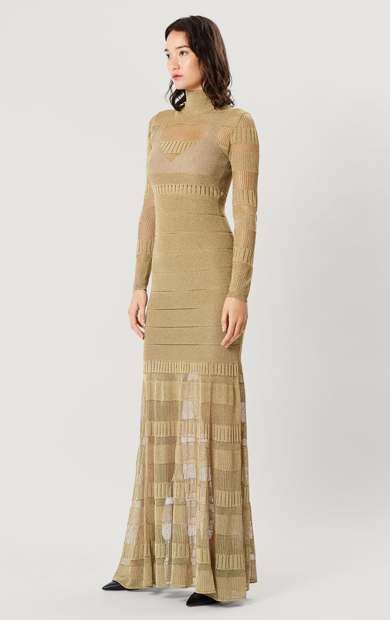 Metallic Sheer Stitch Gown