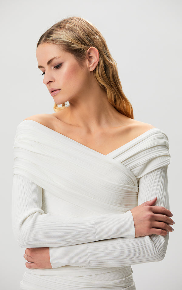 Couture Draped Ribbed Top
