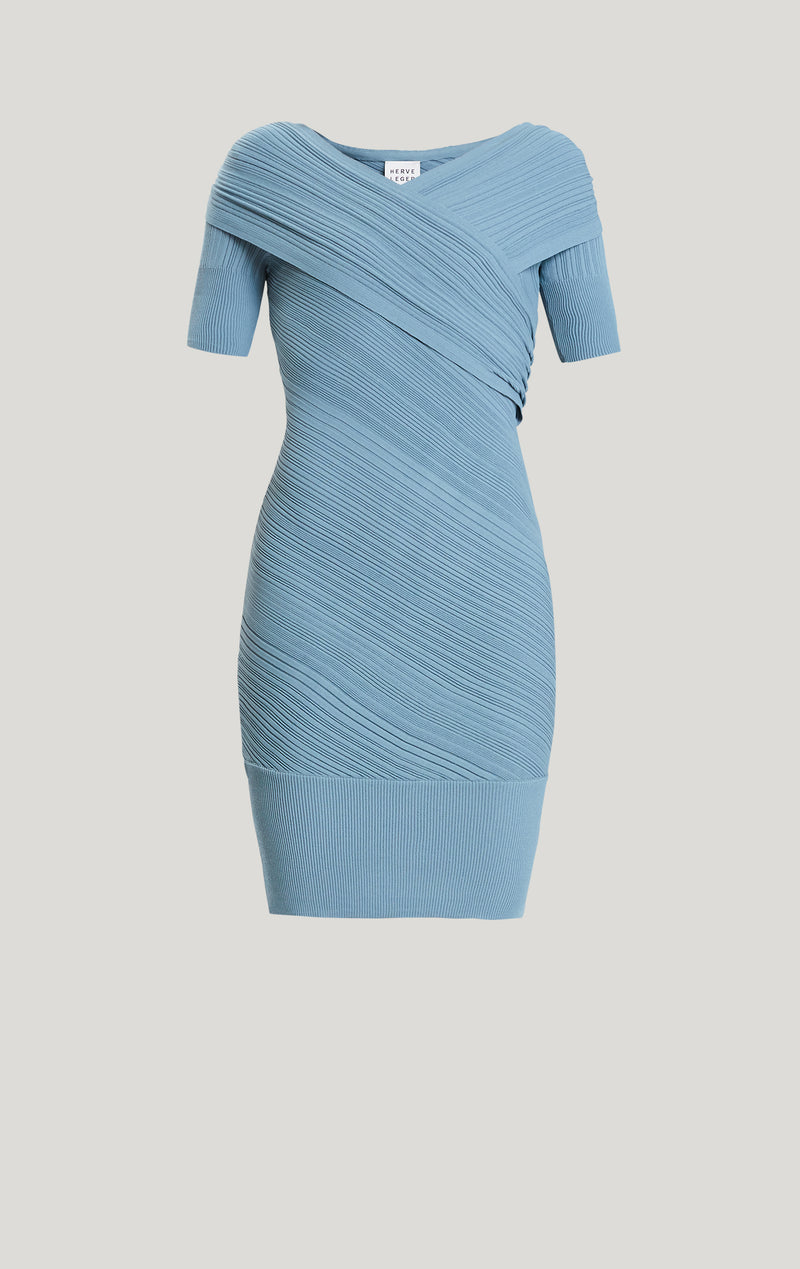 Couture Draped Rib Day Dress