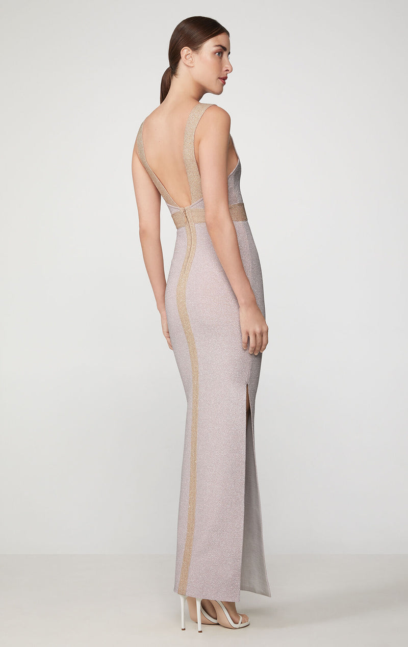 Sleeveless Plaited Metallic Gown