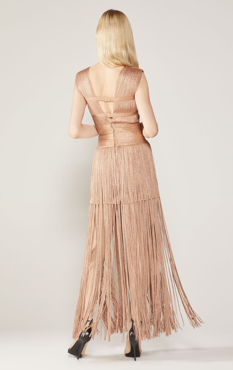 Lurex Deep V Fringe Gown