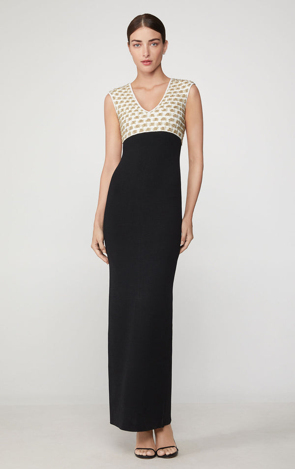Fil Coupe Deep V Gown