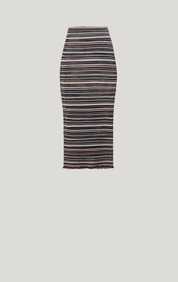 Striped Mesh Midi Skirt
