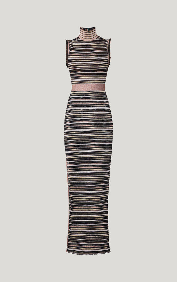 Striped Mesh Knit Gown