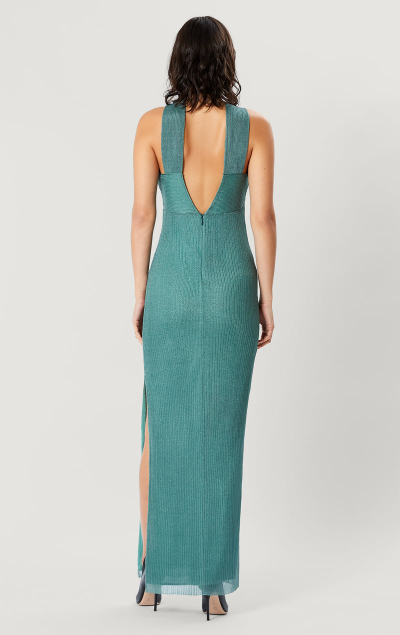 Sheer Draped Halter Gown