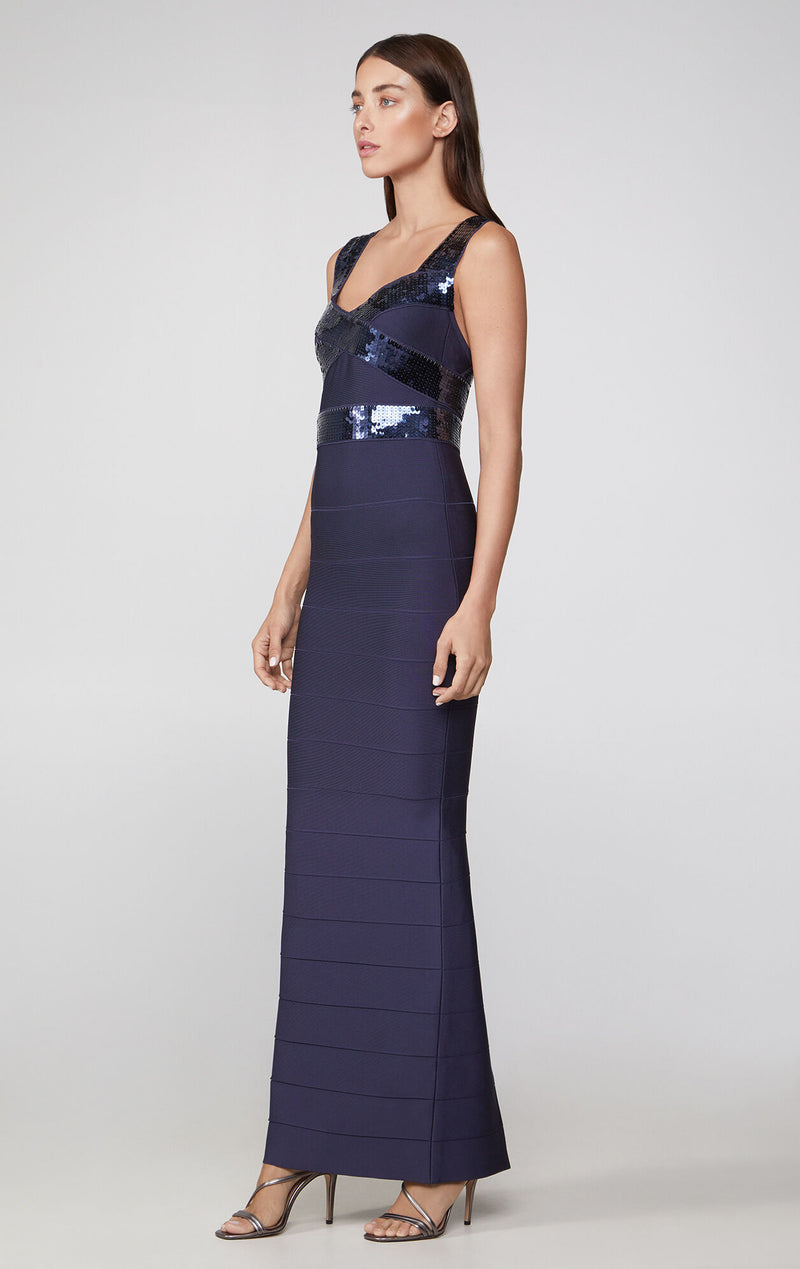 Sequined Cross-Back Gown