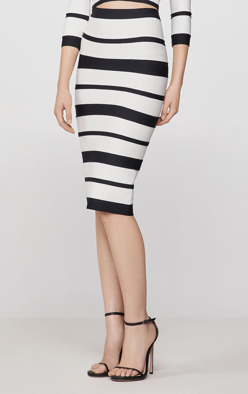 Striped High Waist Pencil Skirt