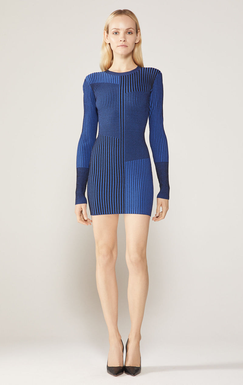 Rib Knit Long Sleeve Mini Dress