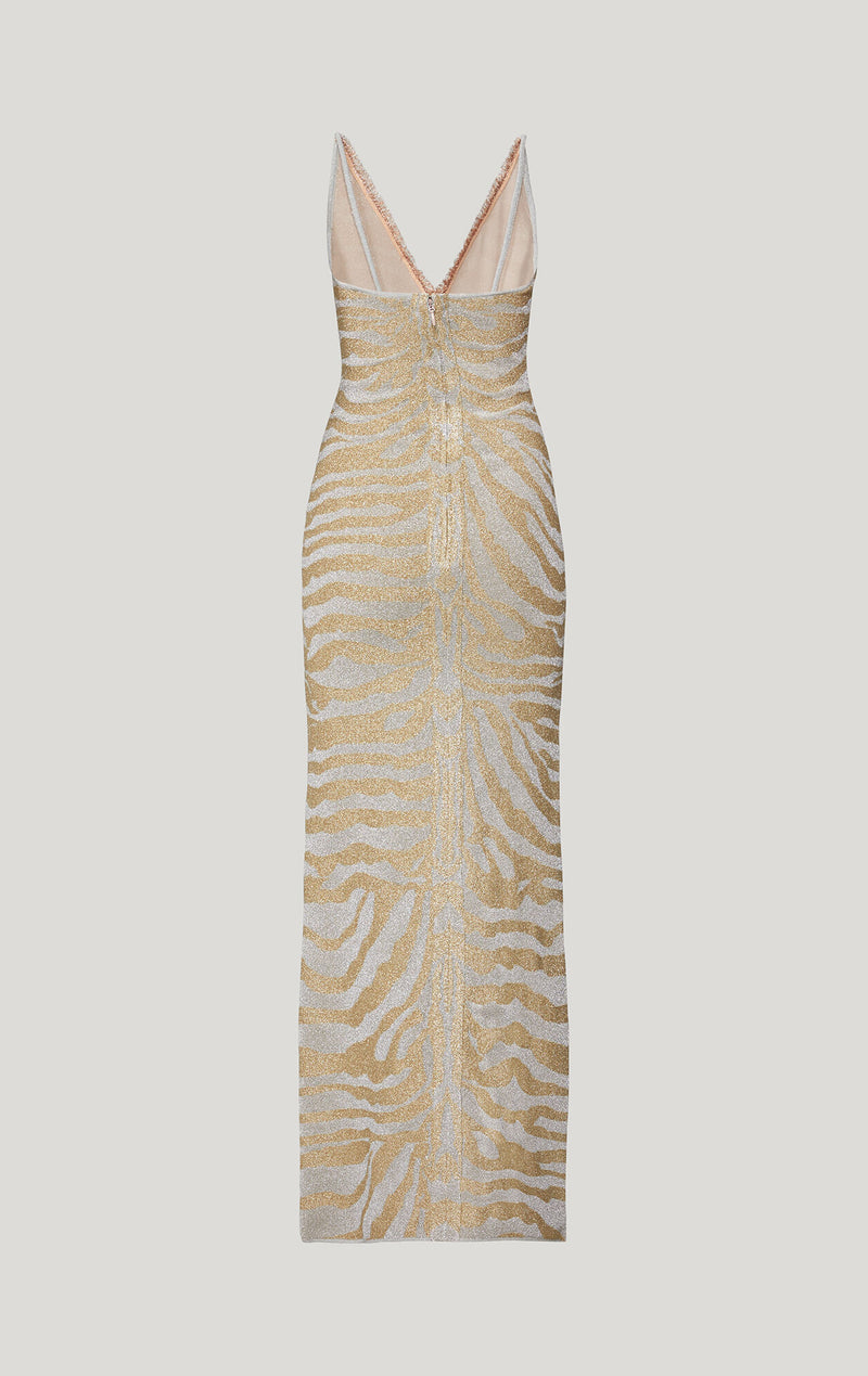 Metallic Animal Print Fringe Gown